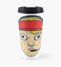 Fast Food Worker Illustration Cartoon Head Wearing a Headset Travel Mug