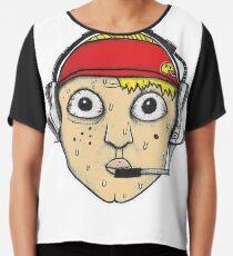 Fast Food Worker Illustration Cartoon Head Wearing a Headset Chiffon Top