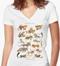 Wild Cats of India Women's Fitted V-Neck T-Shirt