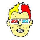 3D glasses wearing sweating cartoon head  by JustNukeIt