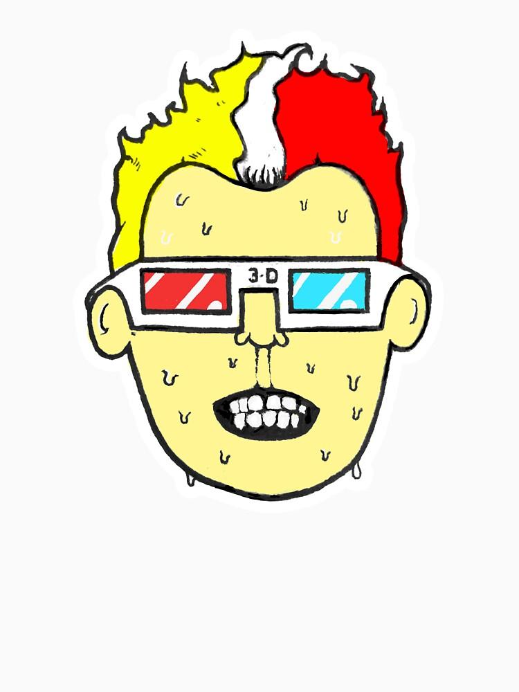 3D glasses wearing sweating cartoon head  by JustNukeIt
