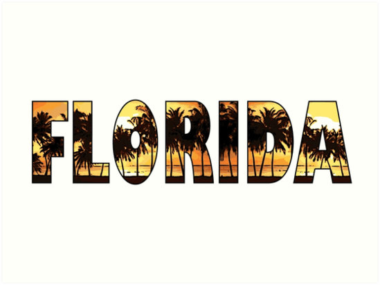Quot Florida Tropical Palm Trees Word Art Quot Art Print By