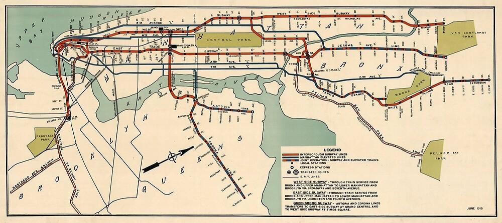 «Mapa del metro de la ciudad de Nueva York (1918)» de BravuraMedia