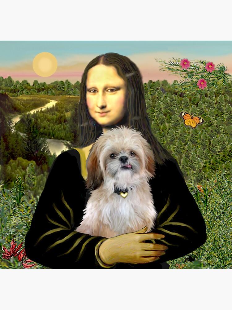 Mona Lisa and her Shih Tzu (P) by JeanBFitzgerald