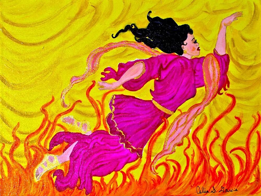 Fire Dancer In Pink Dress by CeliaSGarciaArt