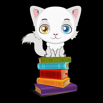 Cat with books by Vroomie