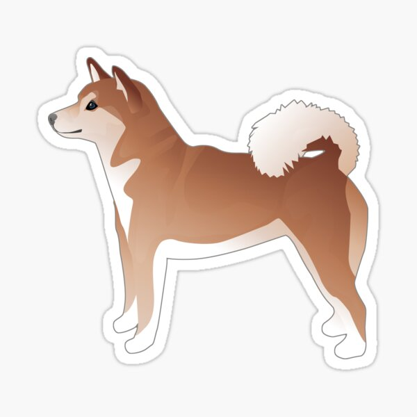 Red Shiba Inu Dog Side View Silhouette Basic Breed Illustration Sticker