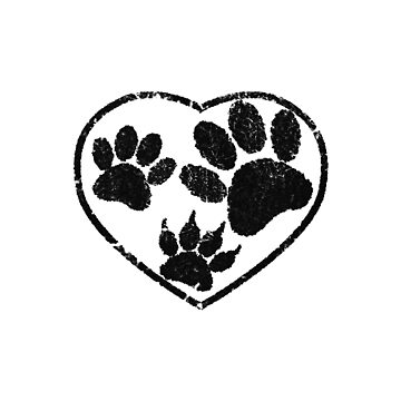Rubber Stamped Heart And Pet Paw Prints by Almdrs