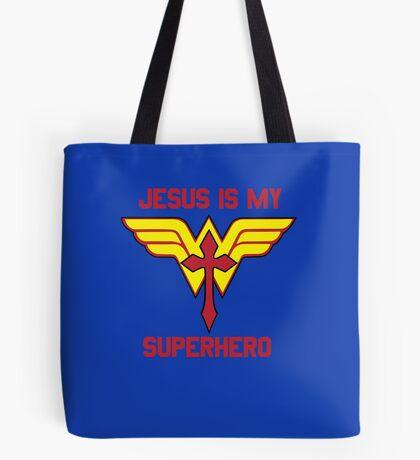 Women's Jesus is my Superhero Christian T-shirt Tote Bag