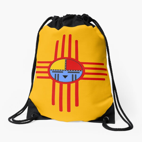 Native American Culture - Kachina Zia Symbol 3 Drawstring Bag