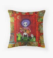 Day of the Dead Mariachi Musician Guitar Player with dog  Throw Pillow