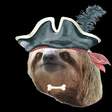 Sloth Pirate Hat BONE Sloths In Clothes by Vroomie