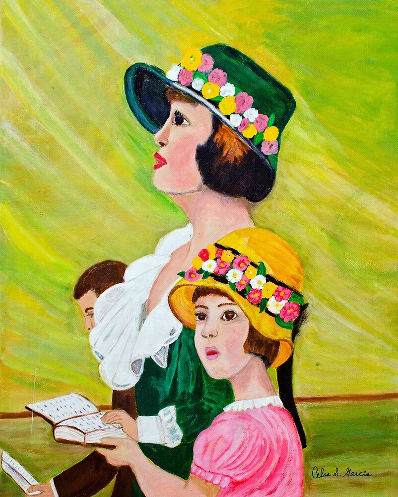 Mother & Daughter with Bonnets  by CeliaSGarciaArt