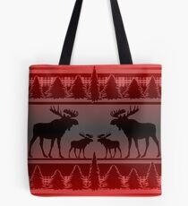 Red black fade rustic moose pattern Tote Bag