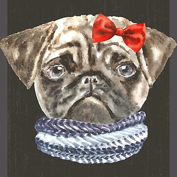 Pug Bow Scarf Dogs In Clothes by Vroomie