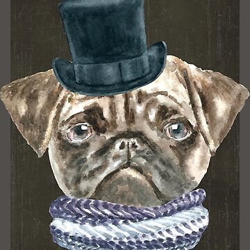 Pug TopHat Scarf Dogs In Clothes by Vroomie