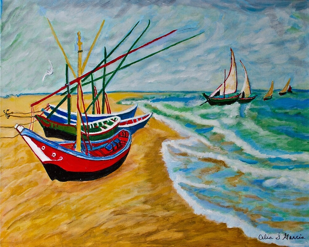 Sail Boats on the Beach by CeliaSGarciaArt