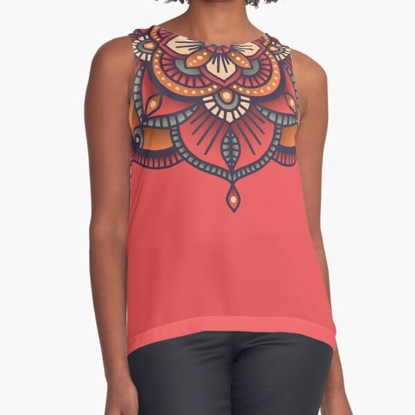 Red Mandala  Sleeveless Top