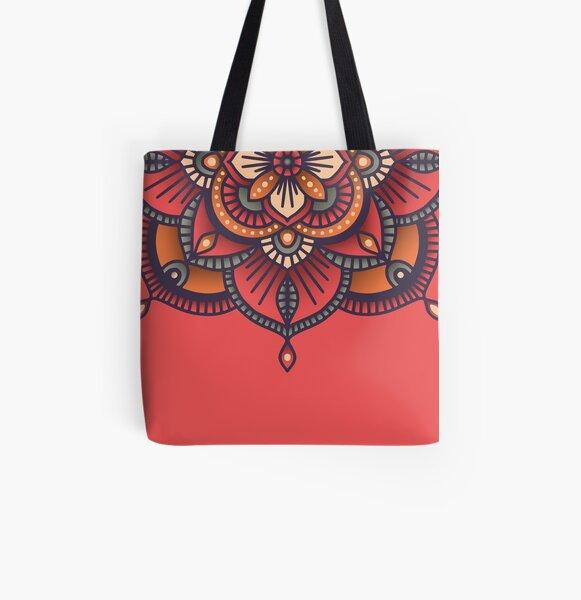 Red Mandala  All Over Print Tote Bag
