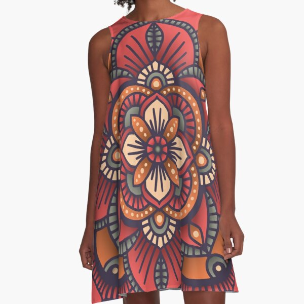 Red Mandala  A-Line Dress