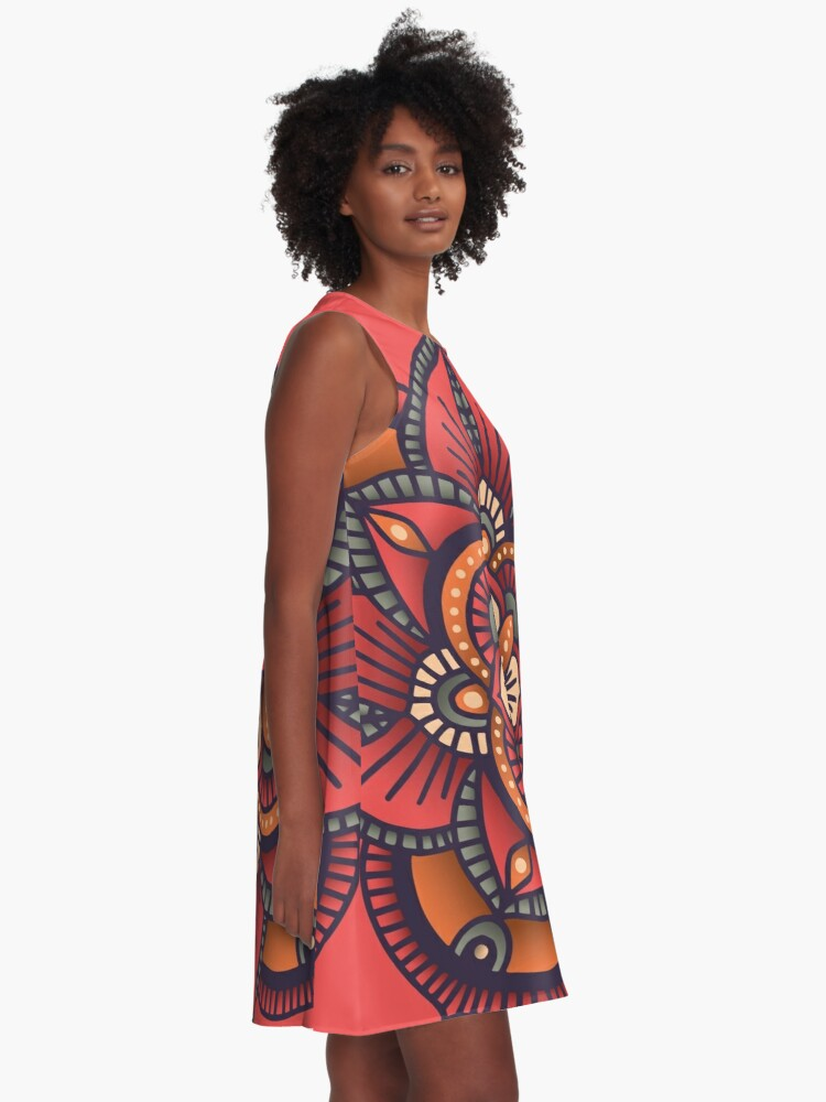 Alternate view of Red Mandala  A-Line Dress