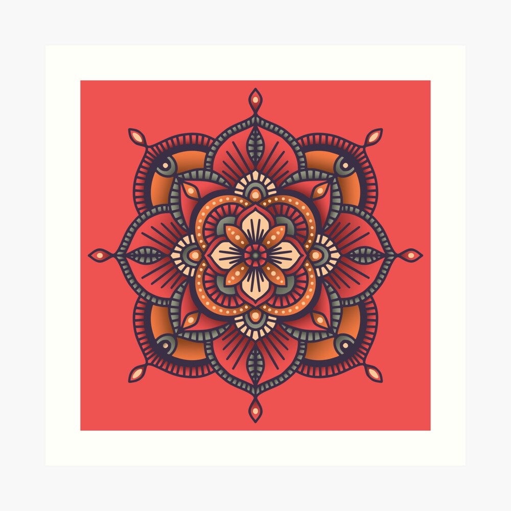 Red Mandala  Art Print