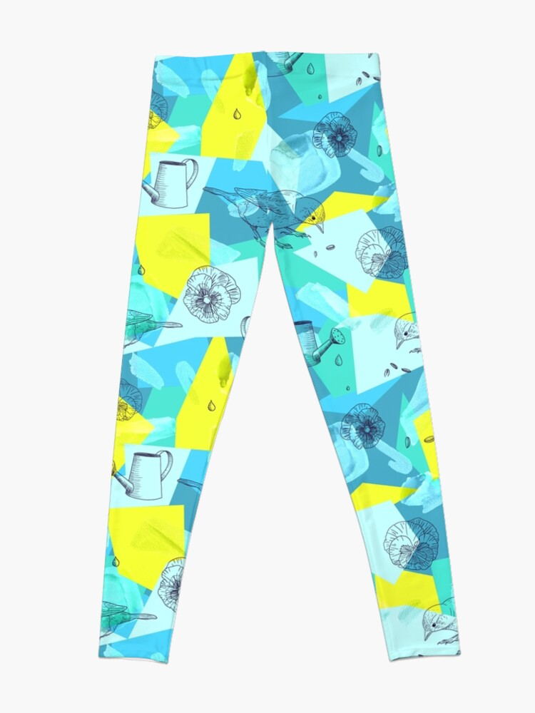 Alternate view of neon maximalist shapes garden delight with sparrow Leggings