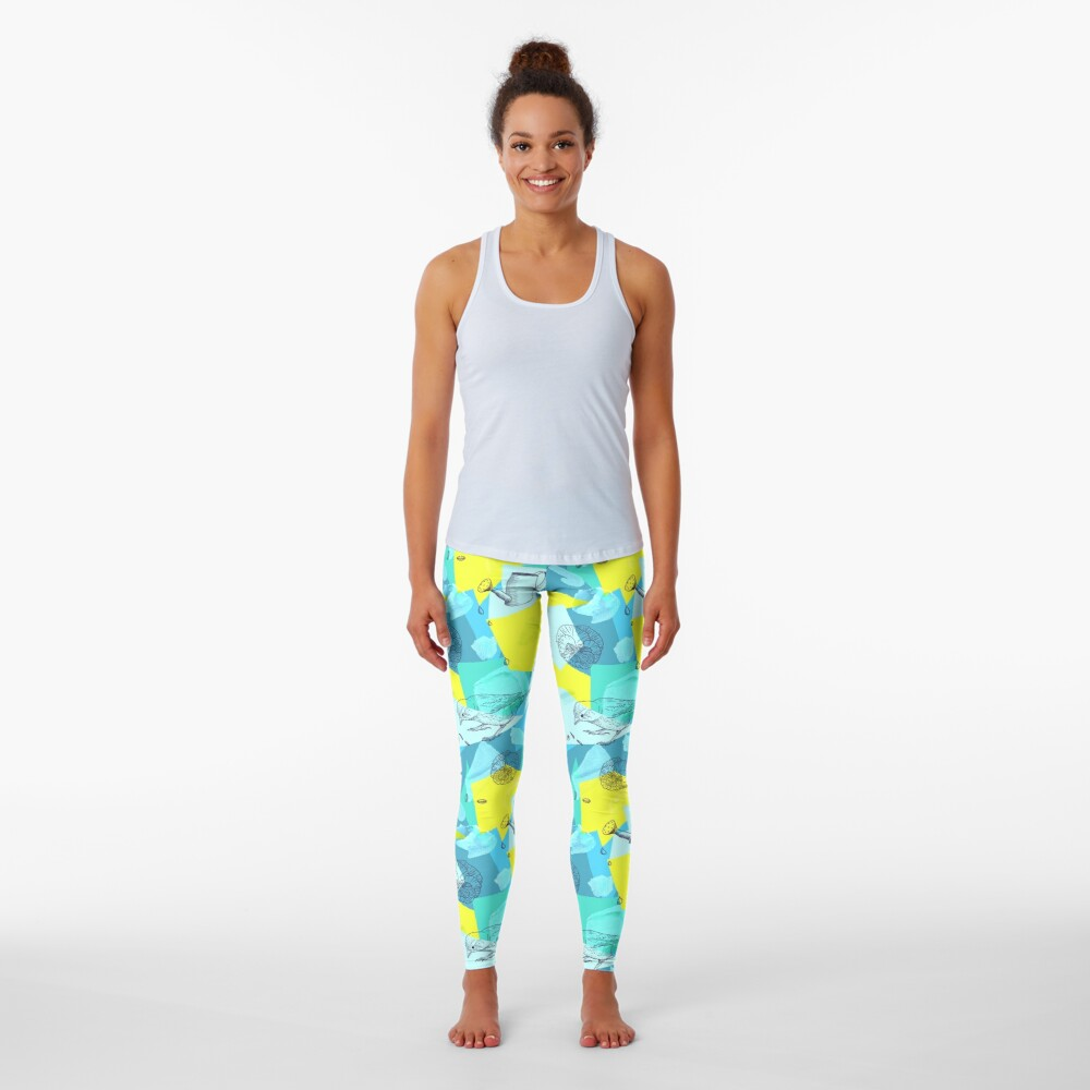 neon maximalist shapes garden delight with sparrow Leggings