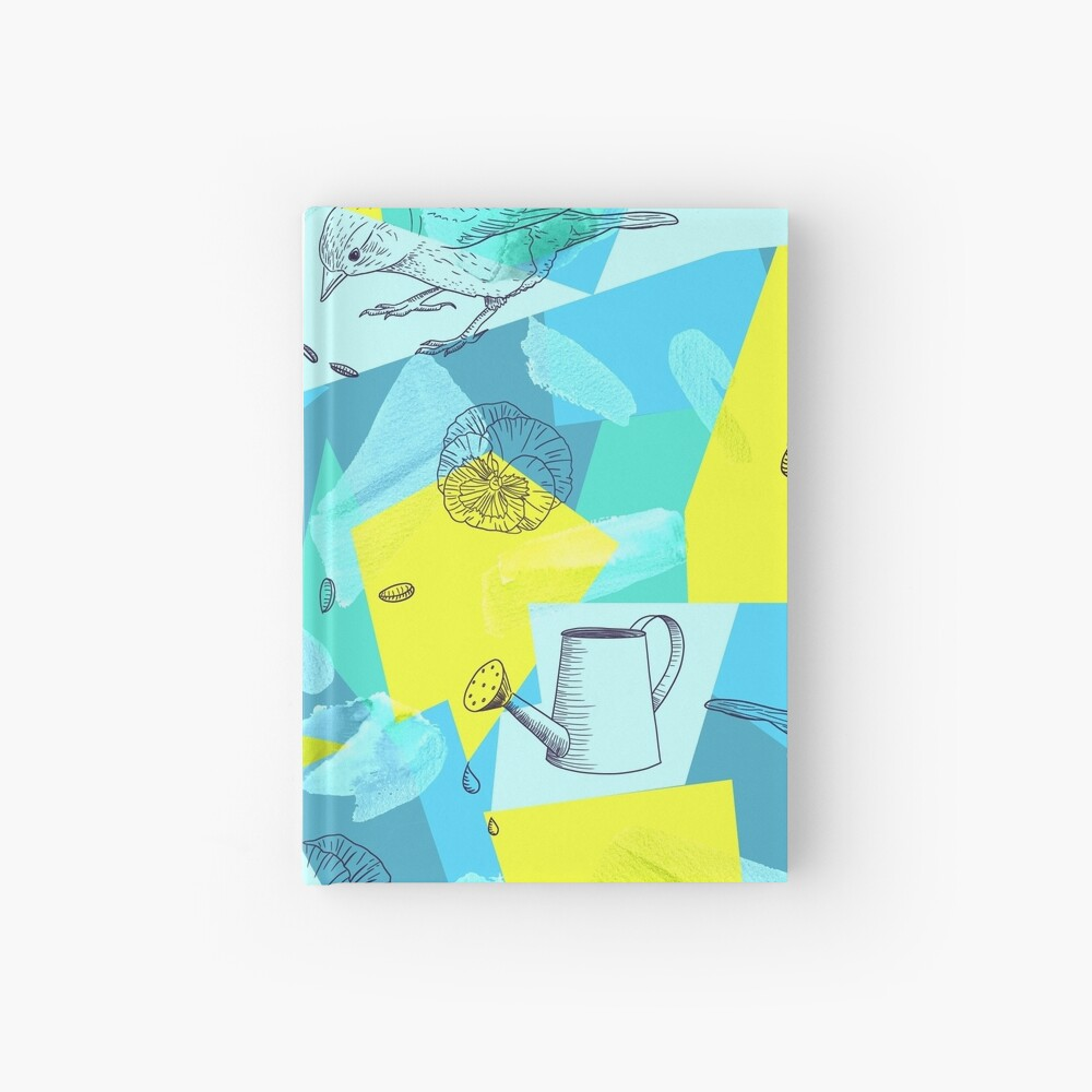 neon maximalist shapes garden delight with sparrow Hardcover Journal