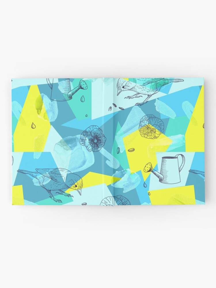 Alternate view of neon maximalist shapes garden delight with sparrow Hardcover Journal