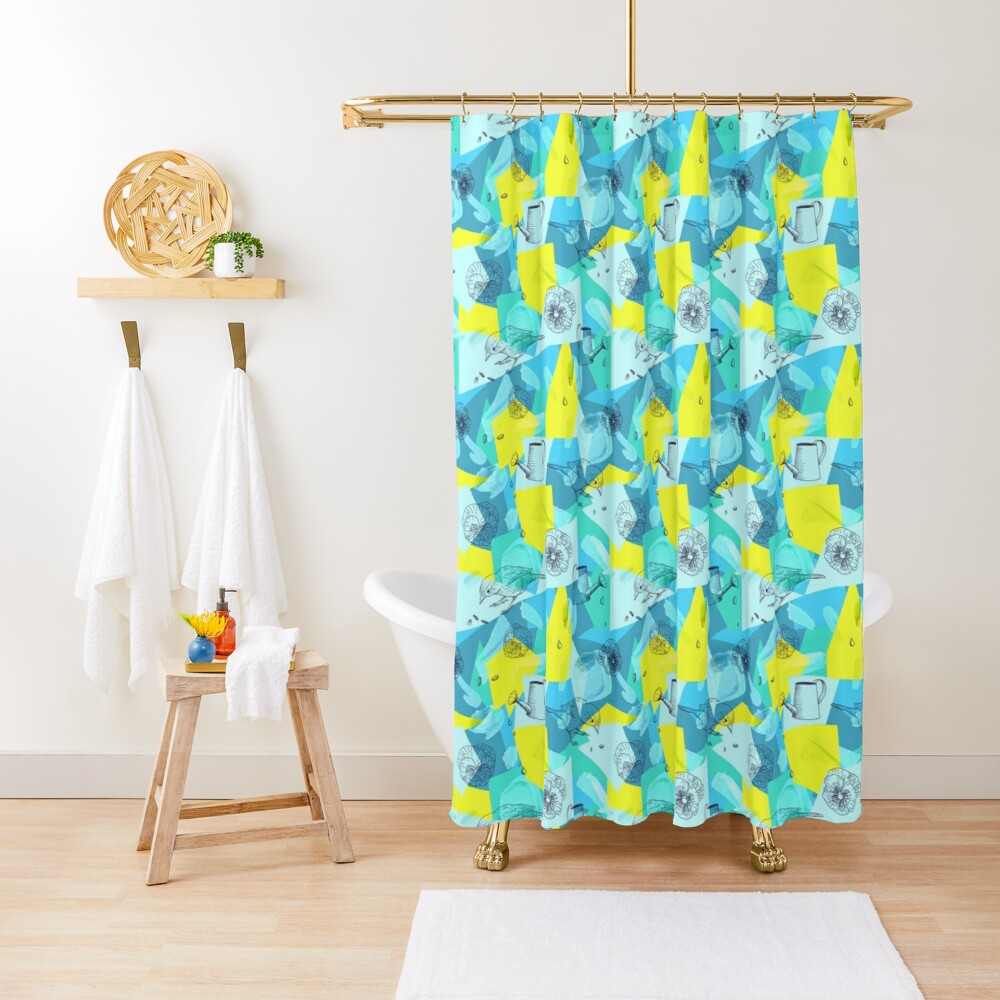 neon maximalist shapes garden delight with sparrow Shower Curtain