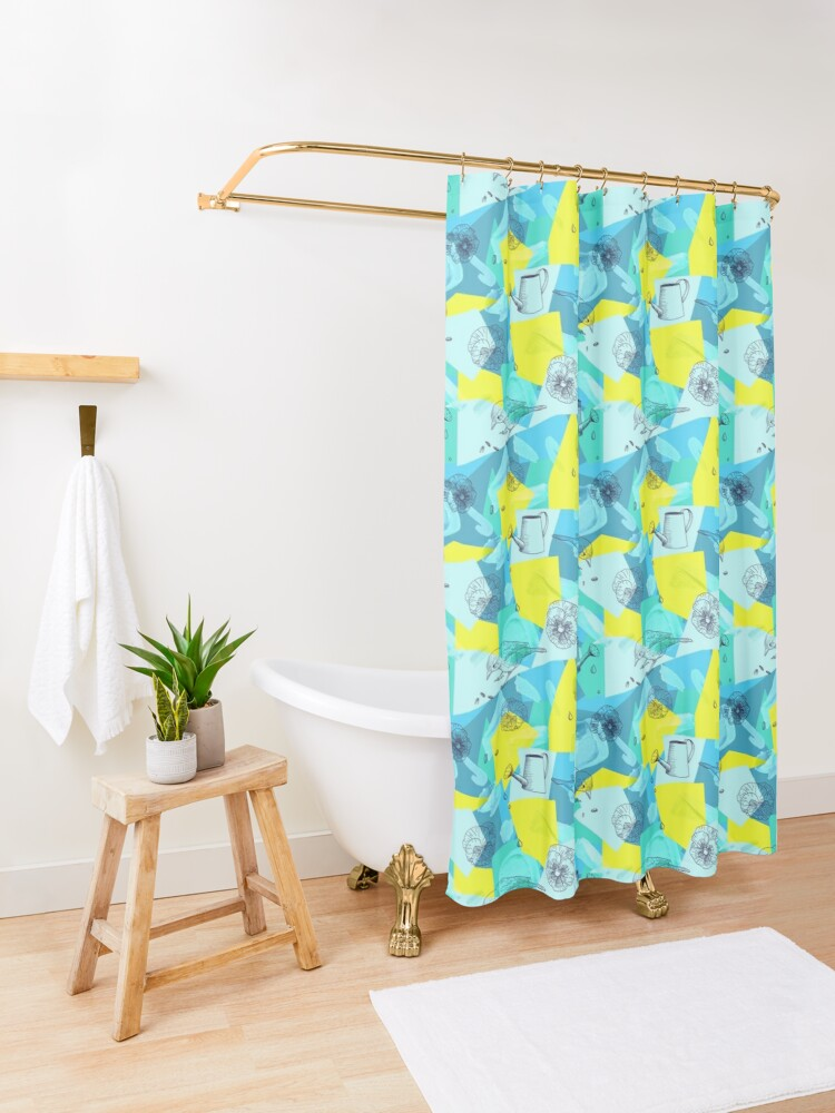 Alternate view of neon maximalist shapes garden delight with sparrow Shower Curtain