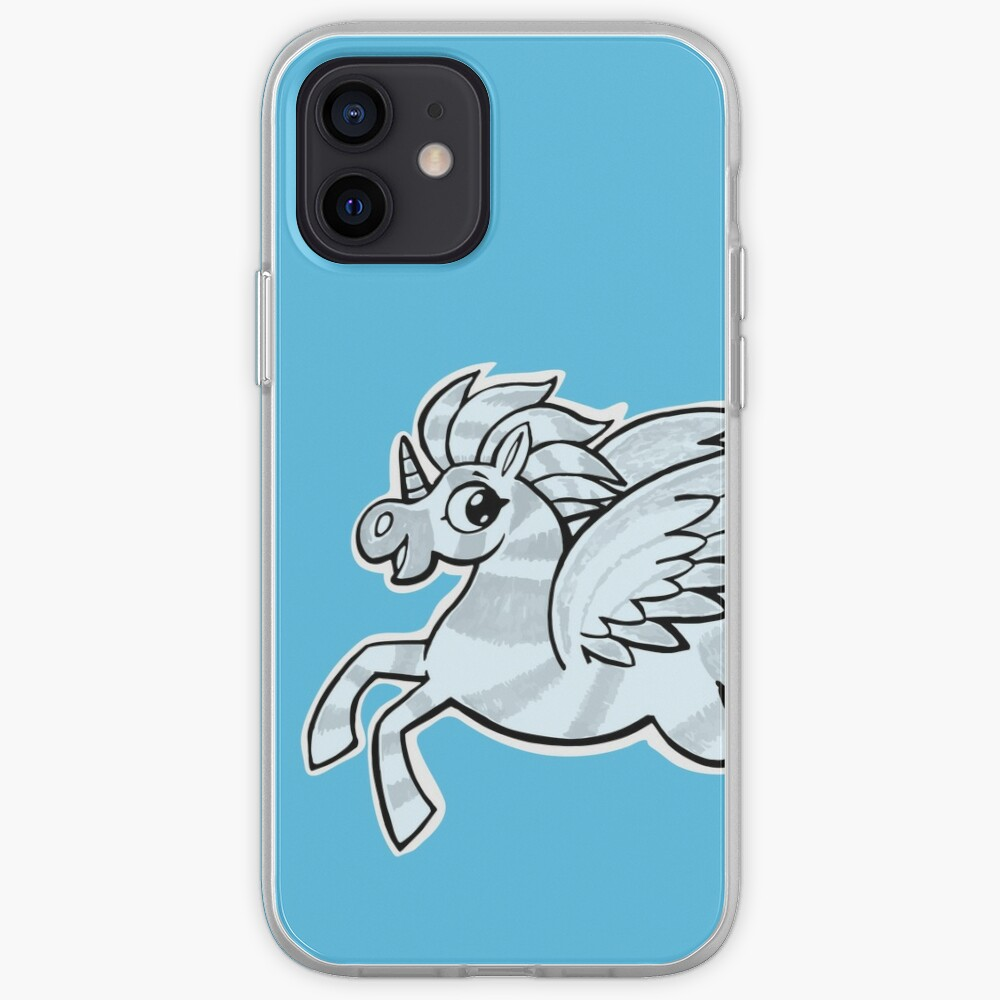 small silver horse unicorn with wings iPhone Case & Cover