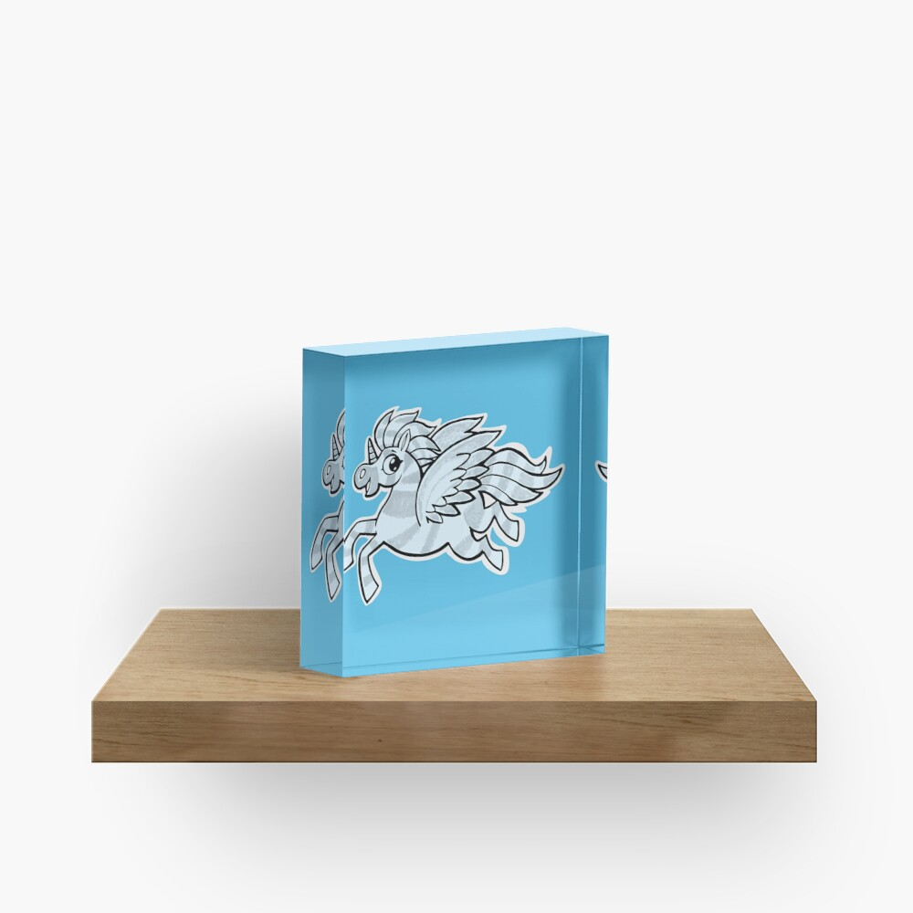 small silver horse unicorn with wings Acrylic Block