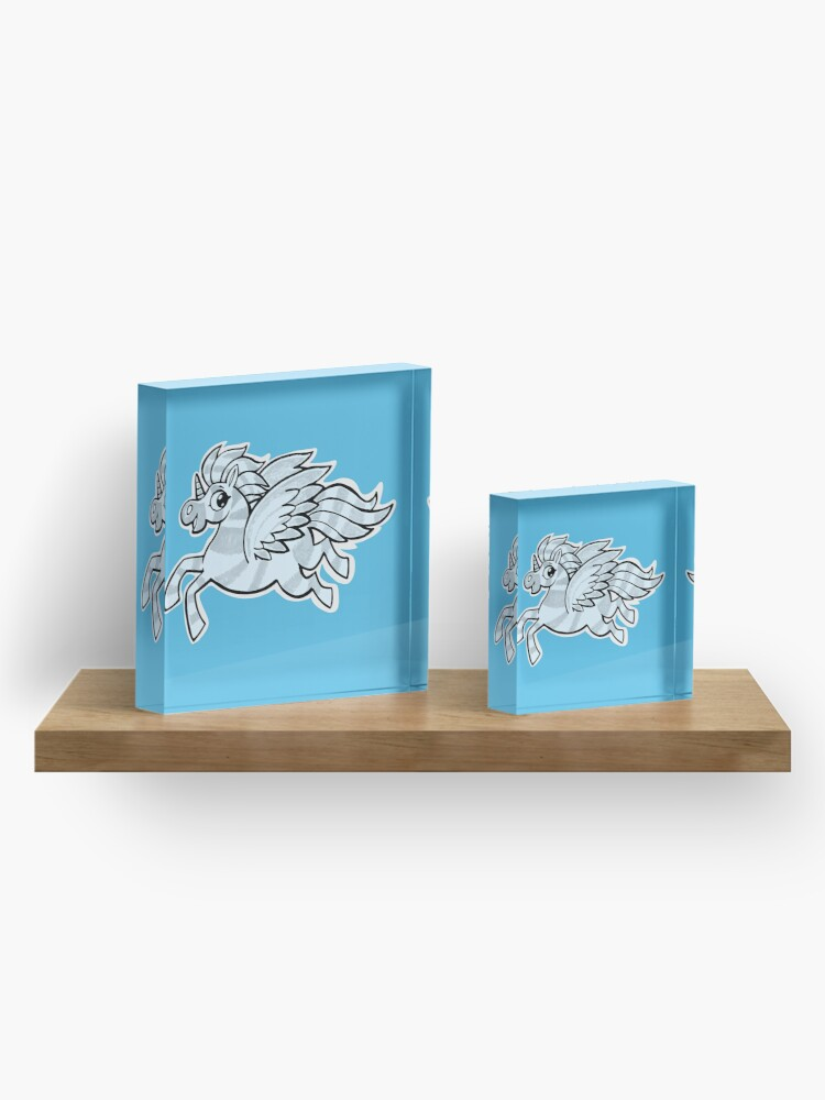 Alternate view of small silver horse unicorn with wings Acrylic Block