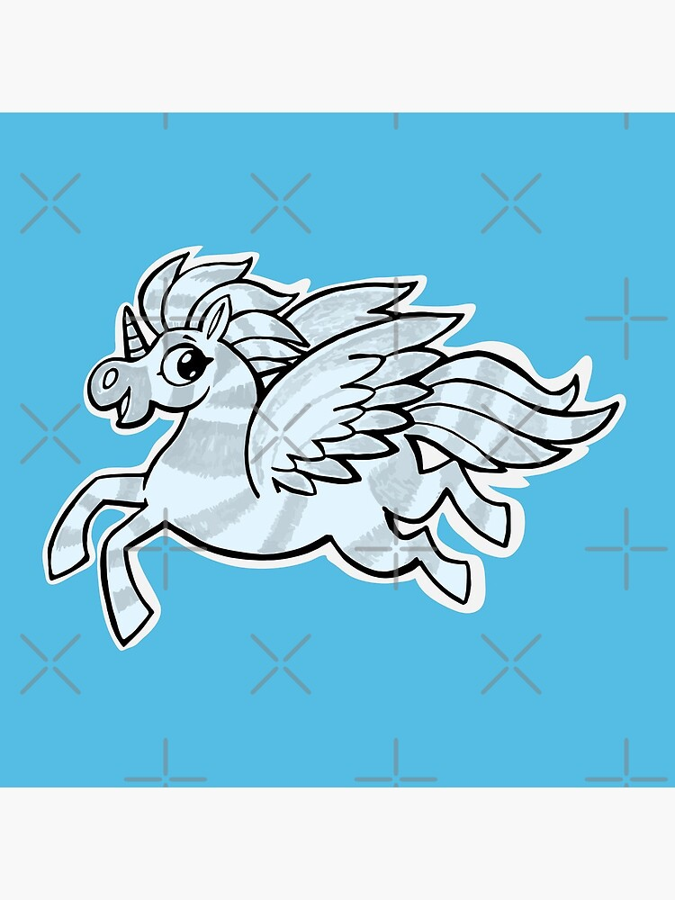 small silver horse unicorn with wings by duxpavlic