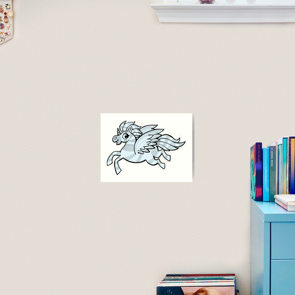 small silver horse unicorn with wings Art Print