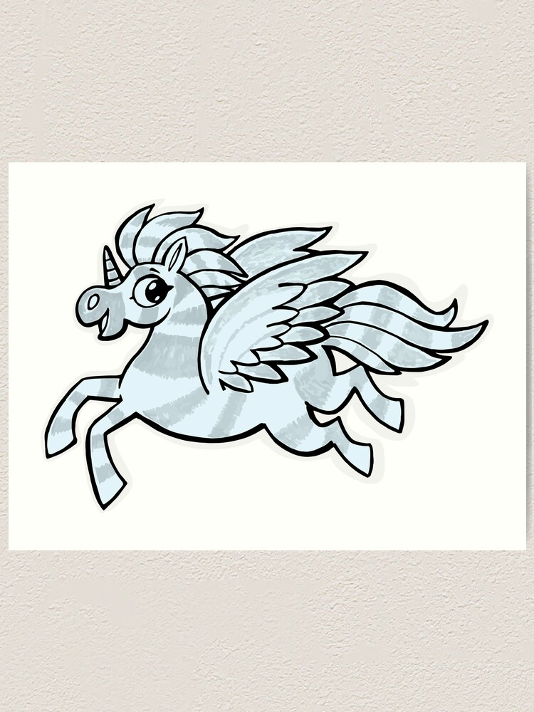Alternate view of small silver horse unicorn with wings Art Print