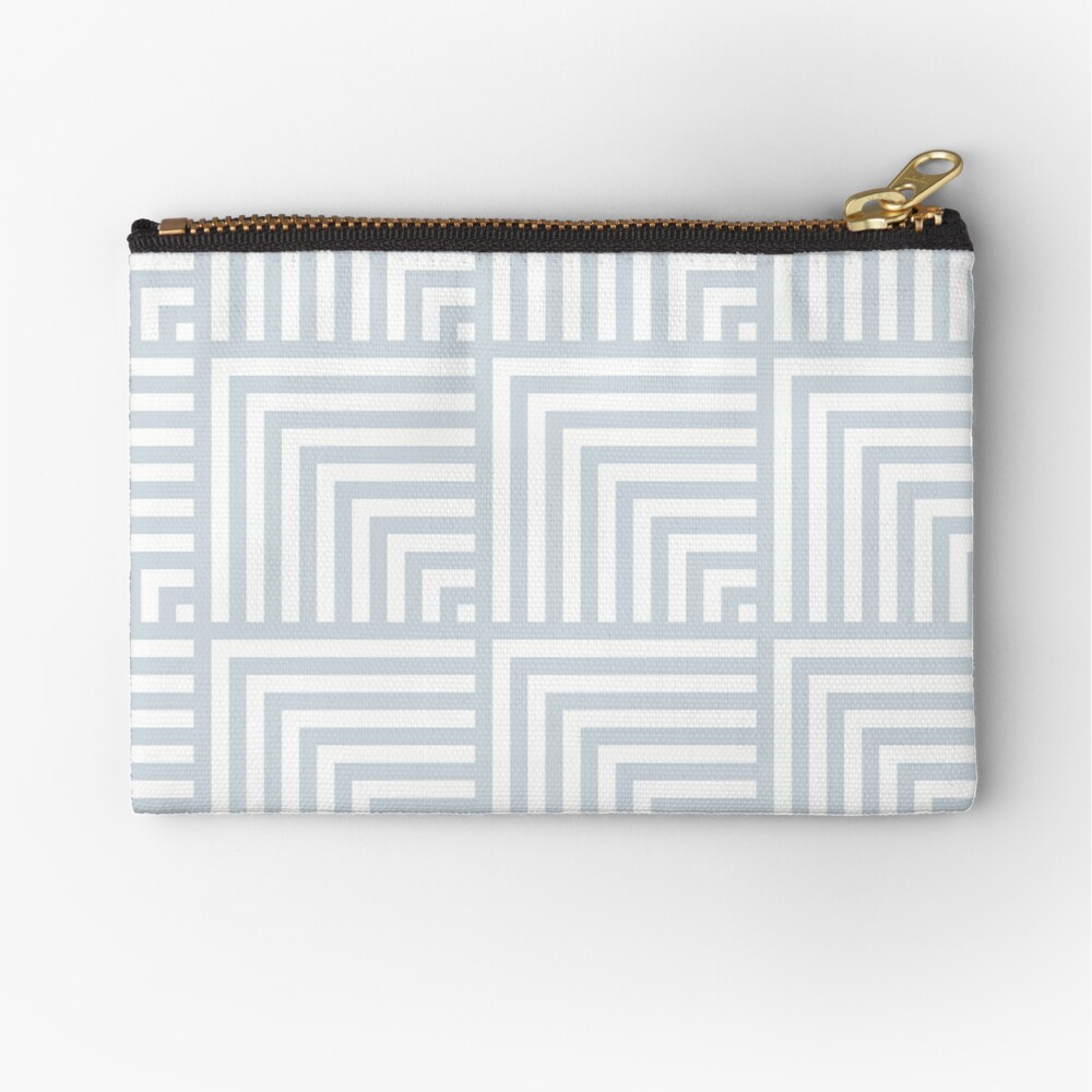 optical art pattern squares in white and ice gray Zipper Pouch