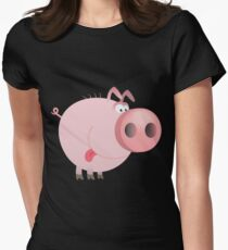 Funny joking pig  Womens Fitted T-Shirt