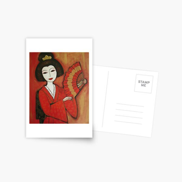 Geisha in Red Postcard