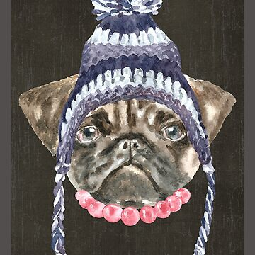 Pug Toque Beads Dogs In Clothes by Vroomie