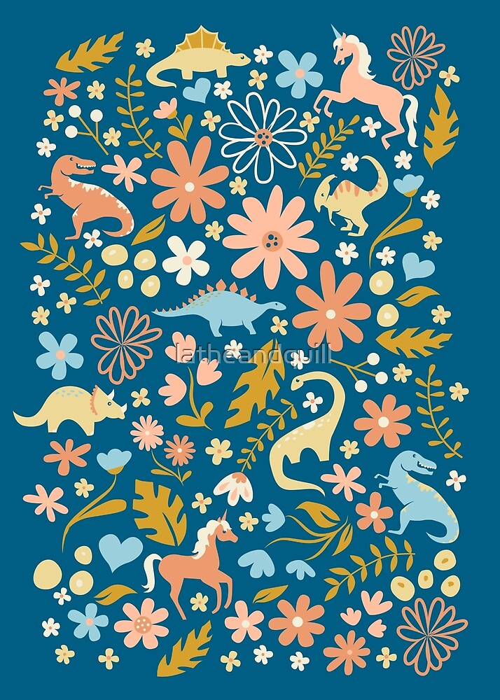 Dinosaurs + Unicorns in Coral + Blue by latheandquill