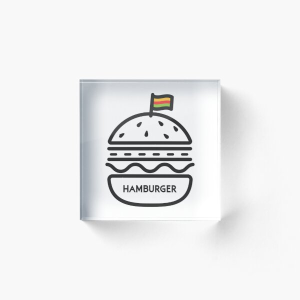 Actual Hamburger from Hamburger Acrylic Block