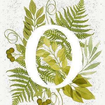 Monograma de la letra O con helecho verde acuarela y hojas de helga-wigandt