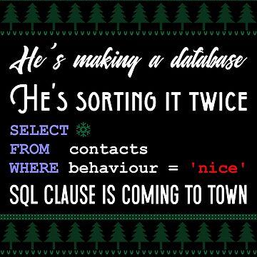Funny SQL Programmer Database Christmas Admin DBA by TheCreekMan