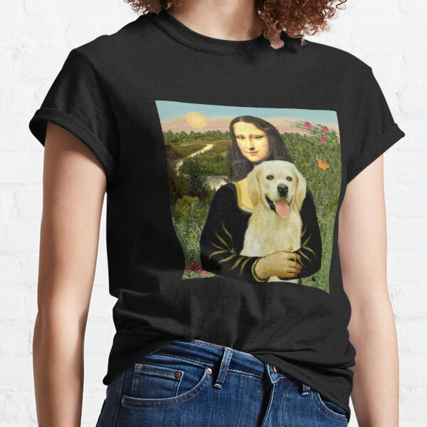 Mona Lisa and her Golden Retriever (light #2) Classic T-Shirt