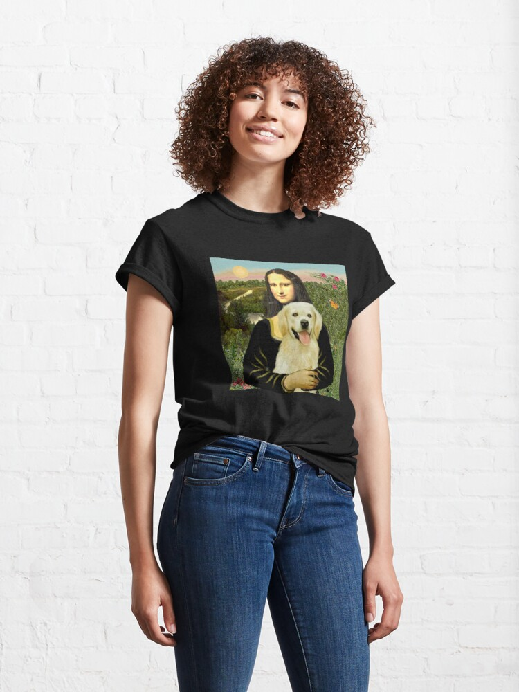 Alternate view of Mona Lisa and her Golden Retriever (light #2) Classic T-Shirt