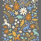 Dinosaurs + Unicorns in Blue + Umber by latheandquill