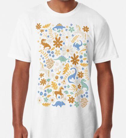 Dinosaurs + Unicorns in Blue + Umber Long T-Shirt